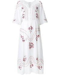 Vilshenko - Embroidered Floral Midi Dress - Lyst