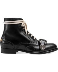 Gucci - Black Queercore Leather Brogue Boot - Lyst