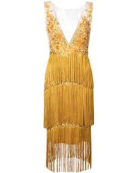 Marchesa notte - Floral Embroidery Fringed Dress - Lyst