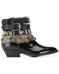Philosophy Di Lorenzo Serafini - Multi-buckle Feather-trim Boots - Lyst