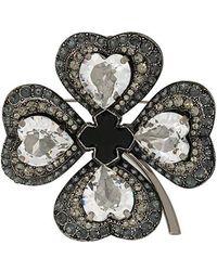 Lanvin - Embellished Clover Brooch - Lyst
