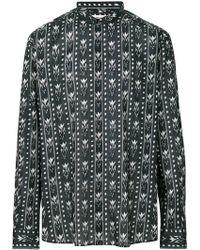 Saint Laurent - Band Collar Ikat Print Shirt - Lyst