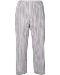 Pleats Please Issey Miyake - Pleated Texture Cropped Trousers - Lyst