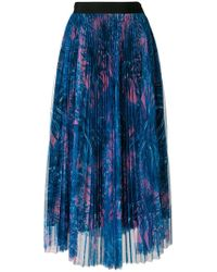 MSGM - Pleated Garden Print Tulle Skirt - Lyst