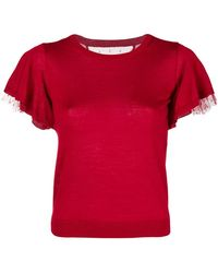 RED Valentino - Lace Sleeve T-shirt - Lyst