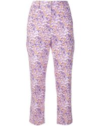 Blumarine - Cropped Floral Print Trousers - Lyst