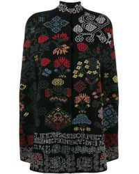 Alexander McQueen - Graphic And Floral Intarsia Wool Knit Cape - Lyst