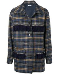 P.A.R.O.S.H. - Embellished Check Coat - Lyst