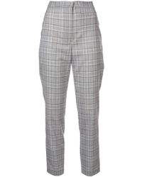 MILLY - Slim Checked Trousers - Lyst