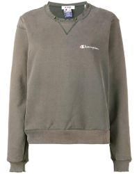 RE/DONE - Distressed Champion Sweatshirt - Lyst