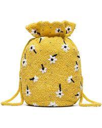 Ganni - Yellow Siltstone Floral Bead Embellished Bracelet Bag - Lyst