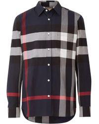 0e8e33d24c07 Burberry Brit Cotton Check Shirt in Blue for Men - Lyst