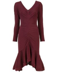 Tadashi Shoji - Ribbed longsleeved dress - Lyst