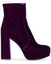 Prada - Velvet Platform Ankle Boots - Lyst