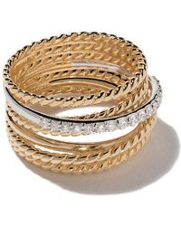 David Yurman - 18kt Yellow Gold Crossover Diamond Wide Ring - Lyst