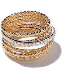 David Yurman - 18kt Yellow Gold Crossover Diamond Wide Ring - Lyst