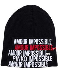Pinko - Amour Impossible Knitted Beanie - Lyst