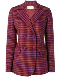 L'Autre Chose - Double Breasted Check Blazer - Lyst