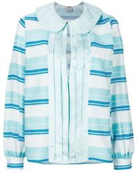 Ultrachic - Front Placket Striped Blouse - Lyst