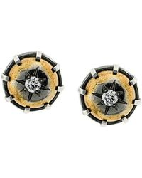 Bottega Veneta - Natural Antique Silver Stellular Stud Earrings - Lyst