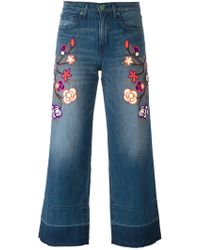 Sandrine Rose - Floral Embroidered Cropped Jeans - Lyst