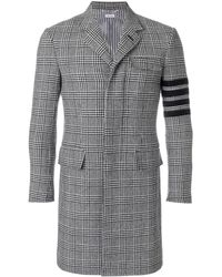Thom Browne - 4-bar Prince Of Wales Check Wool High-armhole Chesterfield Overcoat - Lyst