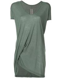 Rick Owens - Asymmetric V-neck T-shirt - Lyst