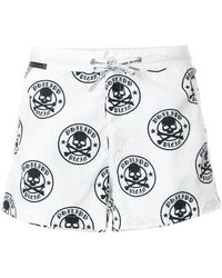Philipp Plein - Skull And Crossbones Print Swim Shorts - Lyst