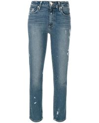 PAIGE - Straight Cropped Jeans - Lyst