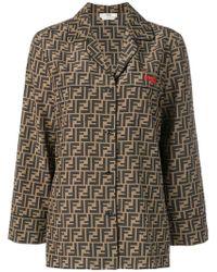 Fendi - Ff Logo Silk Shirt - Lyst