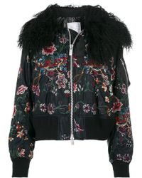 Sacai   Floral Embroidered Bomber Jacket With Collar   Lyst