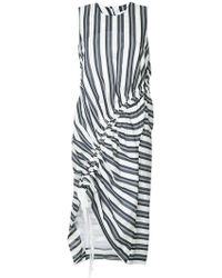 Christopher Esber - Stripe Gathered Midi Dress - Lyst