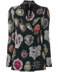 Dolce & Gabbana - Sacred Heart Print Fitted Jacket - Lyst