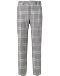 PT01 - Checked Cropped Trousers - Lyst