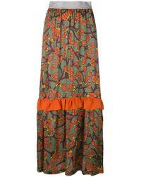I'm Isola Marras - Floral Print Long Ruffle Skirt - Lyst