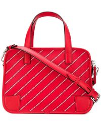 c025fb86c781 Karl Lagerfeld - Striped Logo Bowling Bag - Lyst