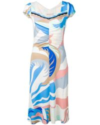 Emilio Pucci - Abstract Print Flared Dress - Lyst