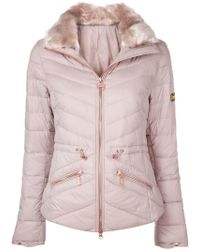 Barbour - Furry Collar Padded Jacket - Lyst