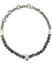 Northskull - Skull Bead Chain Bracelet - Lyst