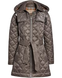 Burberry - Detachable Hood Lightweight Diamond Quilted Coat - Lyst