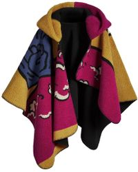 Burberry - Poster Graphic Fleece Jacquard Hooded Poncho - Lyst
