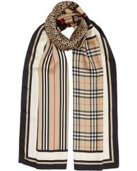 Burberry - Monogram, Icon Stripe And Check Print Silk Scarf - Lyst