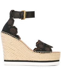 See By Chloé - 120mm Glyn Laser Cut Suede Wedges - Lyst