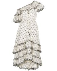 Zimmermann - White Jaya Scallop Tiered Linen Dress - Lyst