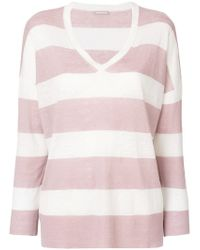 Hemisphere - Striped V-neck Jumper - Lyst