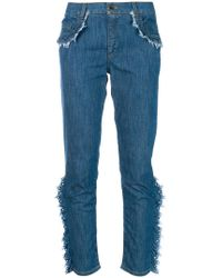 Boutique Moschino - Frayed Ruffle Trim Jeans - Lyst