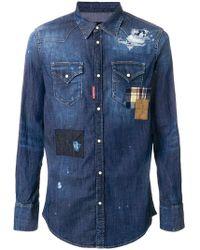 38dd4e36 DSquared² - Distressed Denim Patchwork Shirt - Lyst