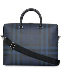 Burberry - London Check And Leather Briefcase - Lyst