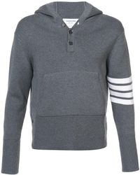 Thom Browne | Pullover Hoodie With Rib Stitch In Grey Merino | Lyst