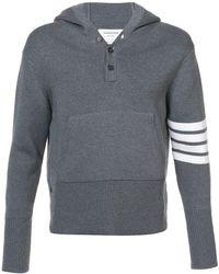 Thom Browne - Pullover Hoodie With Rib Stitch In Grey Merino - Lyst